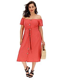 Linen Bardot Midi Dress