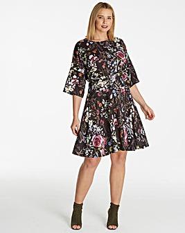Floral Print Lace Up Corset Dress