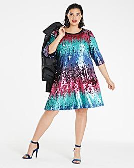 Ombre Sequin Swing Dress