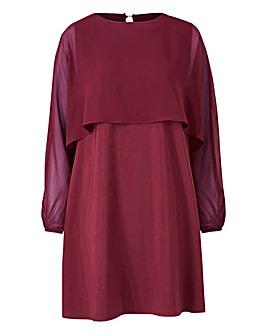 Claret Cape Sleeve Tunic Dress