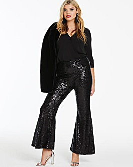 Club L London Black Sequin Kick Flares