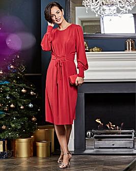 Red Corset Midi Dress
