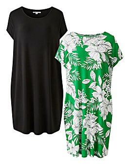 Pack of Two Green Floral T-Shirt Dresses