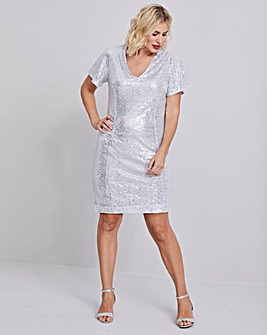 Silver Sequin Shift Dress