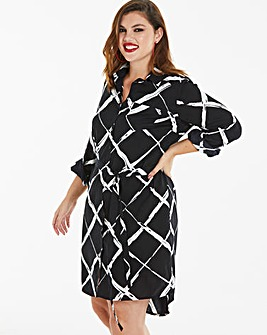 Black/White Long Sleeve Shirt Dress