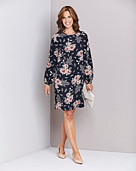 Black Floral Long Sleeve Shift Dress