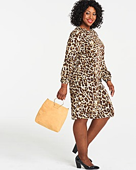 Leopard Print Long Sleeve Shift Dress