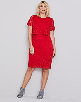 Red Lace Layered Dress