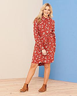 Rust Floral Long Sleeve Shirt Dress