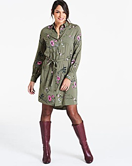Khaki Floral Long Sleeve Shirt Dress