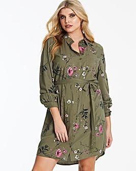 Khaki Floral Long Sleeve Shirt Dress