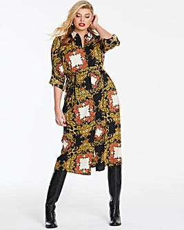Scarf Print Midi Shirt Dress