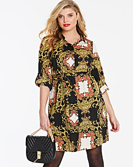 Scarf Print Short Shirt Dress