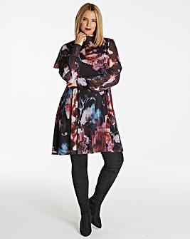 High Neck Floral Skater Dress