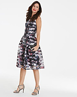 Black Floral Burn Out Stripe Prom Dress