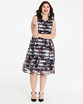 Black Floral Burn Out Stripe Prom Dress