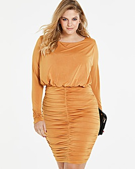 Ochre Ruched Bodycon Dress