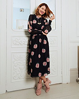 Rose Shirred Waist Split Sleeve Dress