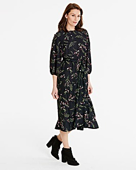 Printed Mock Wrap Skirt Dress