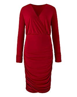 Plunge Neck Ruched Side Bodycon Dress