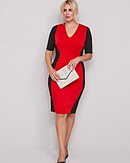 Black/Red V-Neck Illusion Bodycon Dress