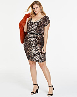 Leopard Print Ruched Side V Neck Dress
