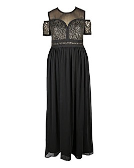 Lovedrobe Panelled Lace Maxi Dress with Cold Shoulder