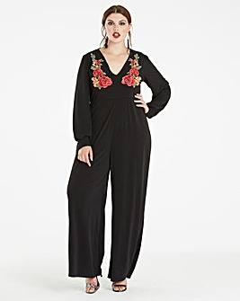 Black Embroidered Long Sleeve Jumpsuit