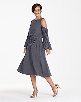 Pewter One Shoulder Dress Asymmetric Hem