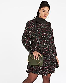 Black Print Shirred Swing Dress