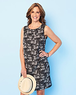 Black Floral Easycare V Back Linen Dress