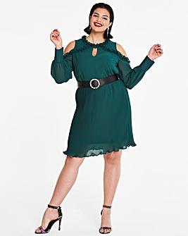 Ruffle Cold Shoulder Pleat Dress