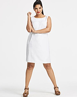 White Easycare V Back Linen Dress
