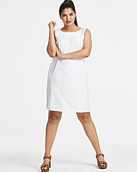 White Easycare V Back Linen Dress