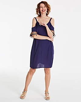 Fringe Trim Shift Dress