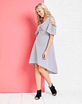 Lace up cold Shoulder Dress