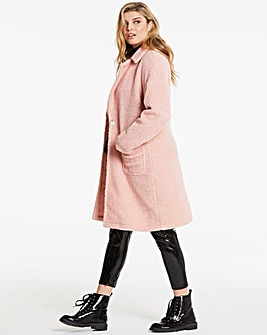 Lasula Pink Teddy Fur Over Coat