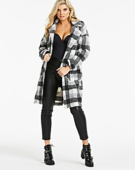 Lasula Checked Teddy Fur Longline Jacket