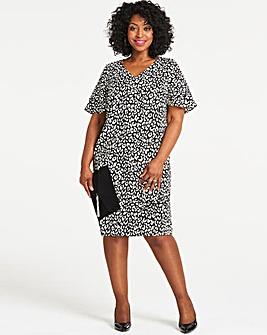 Leopard Print Ruffle Sleeve V Neck Dress