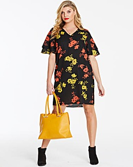 Floral Ruffle Sleeve V Neck Dress