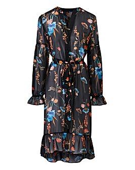 Floral Sheer High Low Hem Shirt Dress