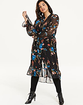 Floral Sheer High Low Hem Shirt Dress