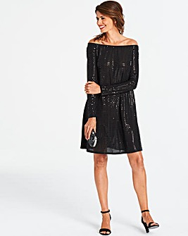 Black Long Sleeve Bardot Swing Dress
