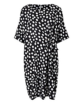 Spot Print Eyelet Detail Dress