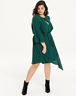 Green Knot Front Asymetric Dress