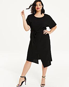 Black Front Split Wiggle Dress
