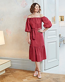 Burnt Red Cotton Poplin Bardot Dress