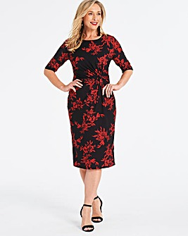 Red Print Twist Knot Dress