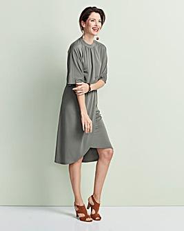 Kimono Stretch Dress with Wrap Skirt