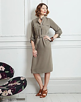 Olive High Neck A line Dress